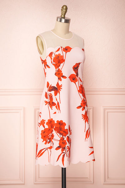 Awala Pink & Red Floral Ted Baker Cocktail Dress | Boutique 1861 3