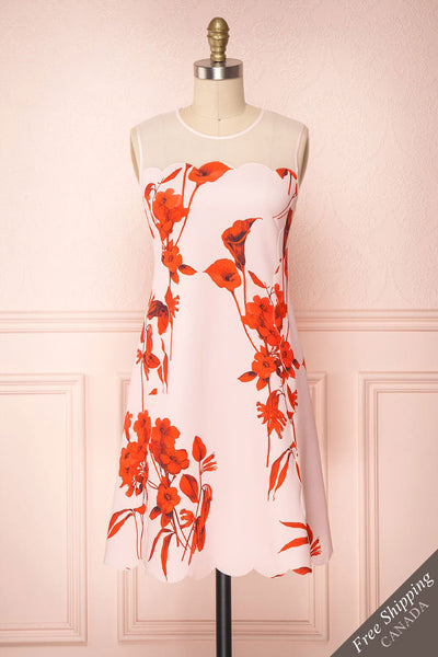 Awala Pink & Red Floral Ted Baker Cocktail Dress | Boutique 1861