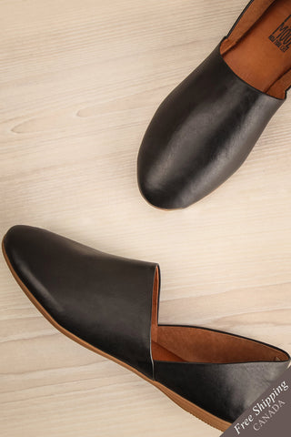 Babbro Black Leather Slip-On Flats | La Petite Garçonne