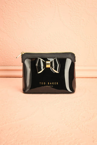 Bacalao Noir - Black glossy pouch with a bow