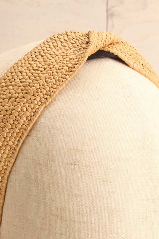 Bachelet Beige Braided Straw Headband with Twist on mannequin close-up | La Petite Garçonne
