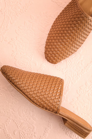 Bagatelle Brown Woven Pointed Toe Mules | Boutique 1861