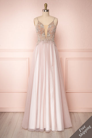 Baillif Lilac Tulle A-Line Gown with Crystals | Boutique 1861