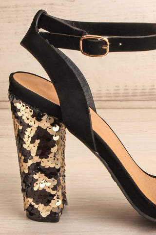 Bailly Black Block Heeled Sandals w Sequins | La Petite Garçonne 6