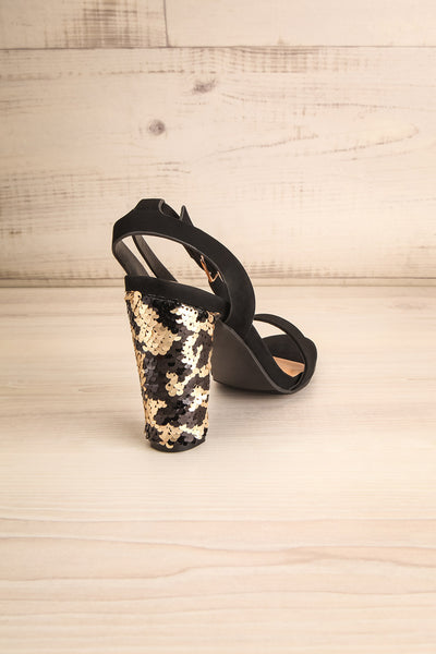Bailly Black Block Heeled Sandals w Sequins | La Petite Garçonne 8