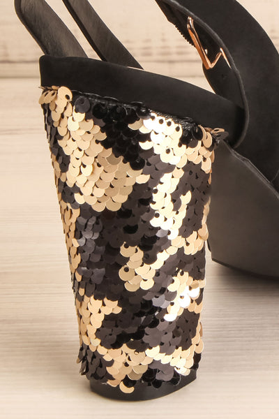 Bailly Black Block Heeled Sandals w Sequins | La Petite Garçonne 2