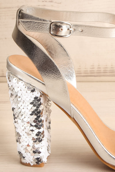 Bailly Silver Block Heeled Sandals w Sequins | La Petite Garçonne 6
