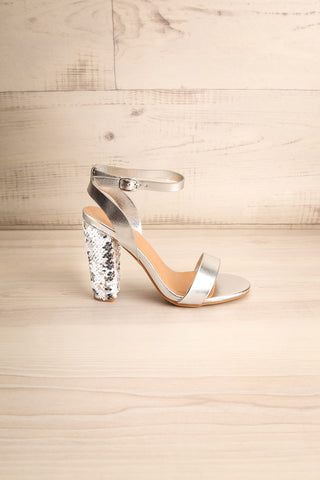 Bailly Silver Block Heeled Sandals w Sequins | La Petite Garçonne 5