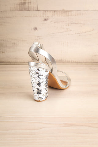 Bailly Silver Block Heeled Sandals w Sequins | La Petite Garçonne 8