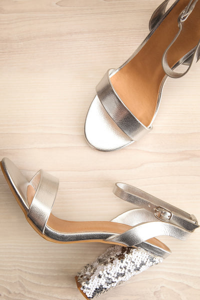 Bailly Silver Block Heeled Sandals w Sequins | La Petite Garçonne 1