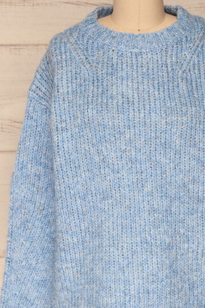 Balchik Blue Knit Sweater | La Petite Garçonne front close-up