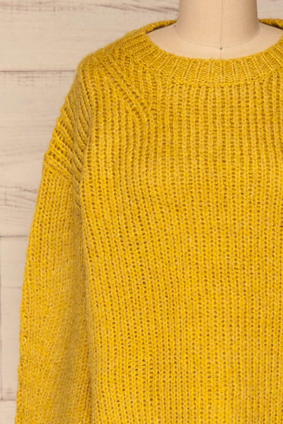 Balchik Yellow Knit Sweater | La Petite Garçonne front close-up