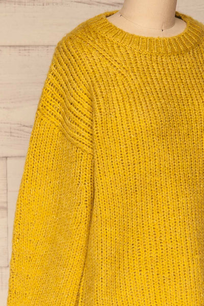 Balchik Yellow Knit Sweater | La Petite Garçonne side close-up