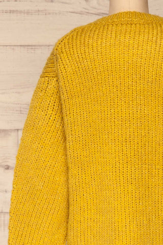 Balchik Yellow Knit Sweater | La Petite Garçonne back close-up