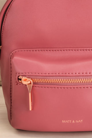 Balimina Raspberry Red Vegan Leather Backpack front close-up | La Petite Garçonne