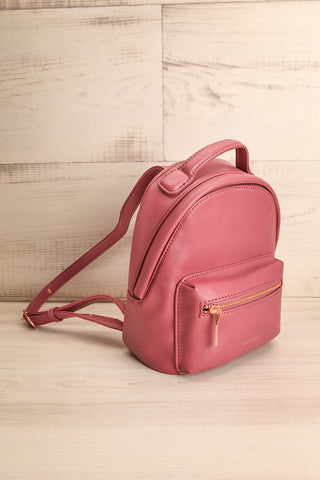 Balimina Raspberry Red Vegan Leather Backpack side view | La Petite Garçonne