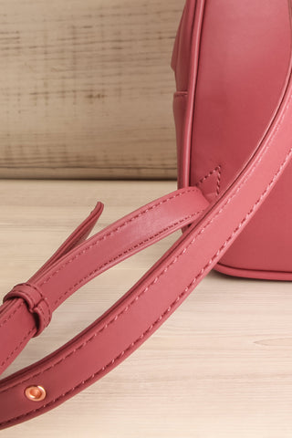 Balimina Raspberry Red Vegan Leather Backpack back close-up | La Petite Garçonne