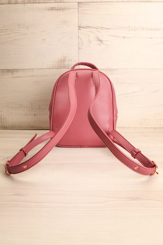Balimina Raspberry Red Vegan Leather Backpack back view | La Petite Garçonne