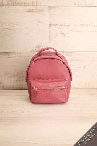 Balimina Raspberry Red Vegan Leather Backpack front view | La Petite Garçonne