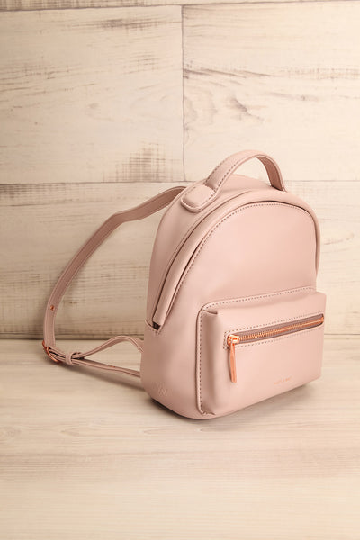 Balimina Taupe Vegan Leather Backpack side view | La Petite Garçonne