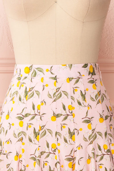 Balsadiero Pink Lemon Print Frills Short Skirt front close up | Boutique 1861