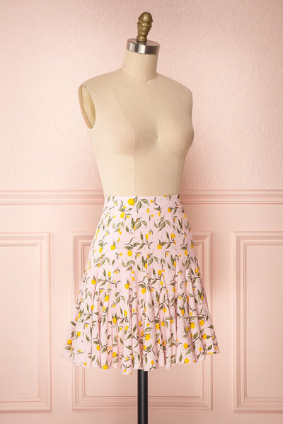 Balsadiero Pink Lemon Print Frills Short Skirt side view | Boutique 1861