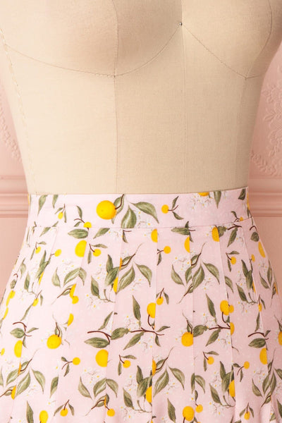 Balsadiero Pink Lemon Print Frills Short Skirt side close up | Boutique 1861