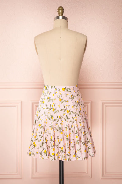 Balsadiero Pink Lemon Print Frills Short Skirt back view | Boutique 1861