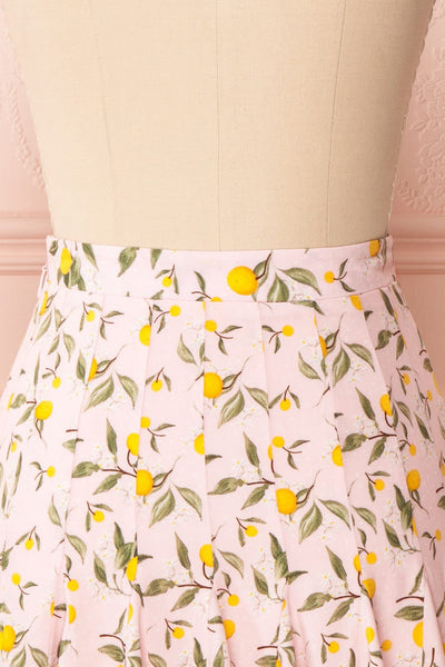 Balsadiero Pink Lemon Print Frills Short Skirt back close up | Boutique 1861
