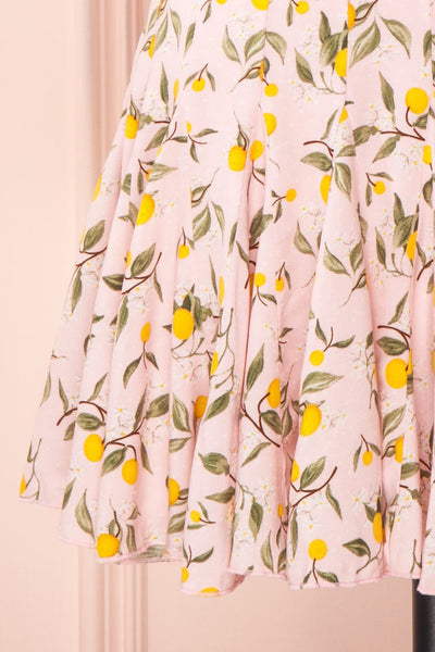 Balsadiero Pink Lemon Print Frills Short Skirt skirt | Boutique 1861