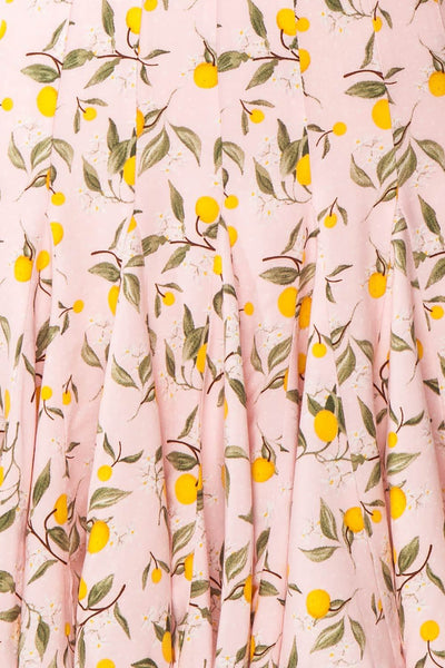 Balsadiero Pink Lemon Print Frills Short Skirt fabric | Boutique 1861