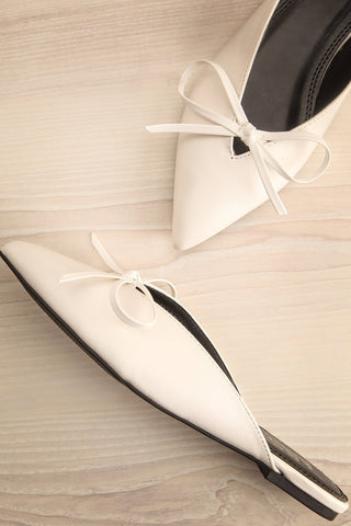 Barbette White Pointed Toe Mules with Bow | La Petite Garçonne
