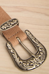 Barcel Day - Beige and silver suede belt