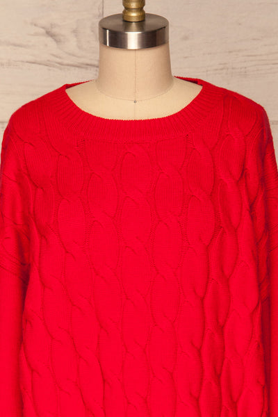 Amadora Red Oversized Knit Sweater front close up | La Petite Garçonne