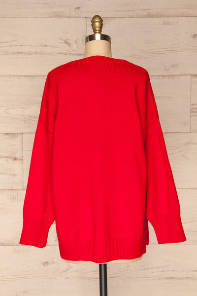 Amadora Red Oversized Knit Sweater back view | La Petite Garçonne