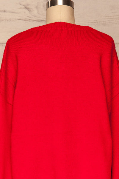Amadora Red Oversized Knit Sweater back close up | La Petite Garçonne