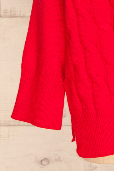 Amadora Red Oversized Knit Sweater sleeve close up | La Petite Garçonne