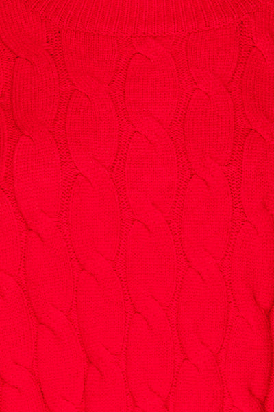 Amadora Red Oversized Knit Sweater fabric details | La Petite Garçonne