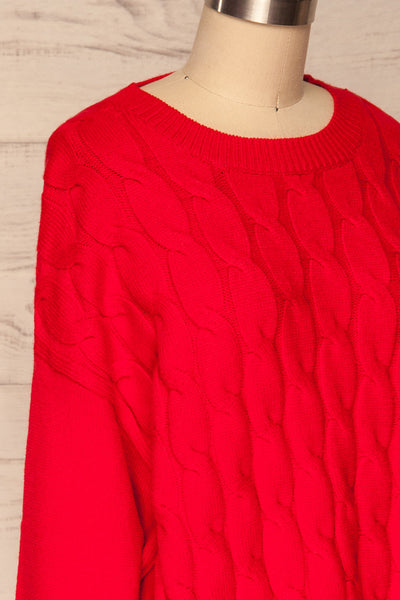 Amadora Red Oversized Knit Sweater side close up | La Petite Garçonne