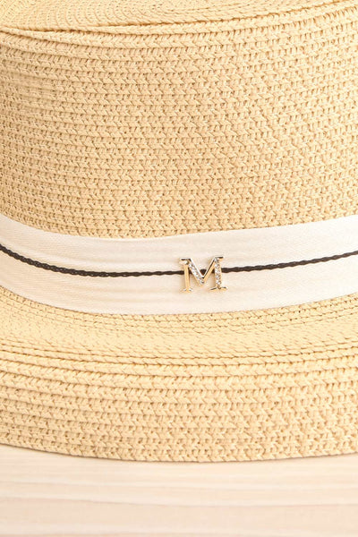 Basildon Beige Wide Brimmed Straw Hat side close-up | La Petite Garçonne