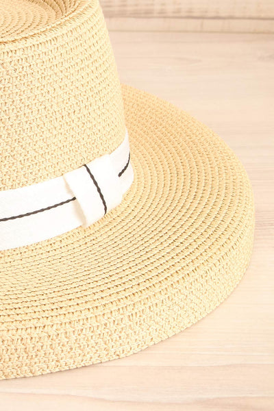 Basildon Beige Wide Brimmed Straw Hat close-up | La Petite Garçonne