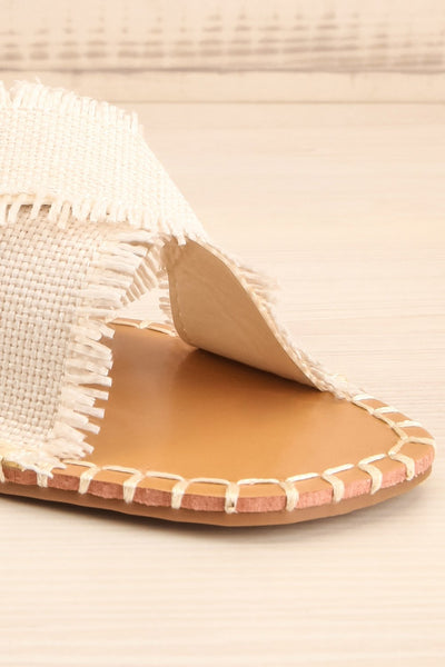 Basingstoke Beige Woven Slip-On Sandals | La petite garçonne front close-up