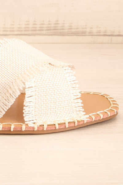 Basingstoke Beige Woven Slip-On Sandals | La petite garçonne side front close-up