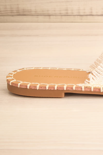 Basingstoke Beige Woven Slip-On Sandals | La petite garçonne side close-up
