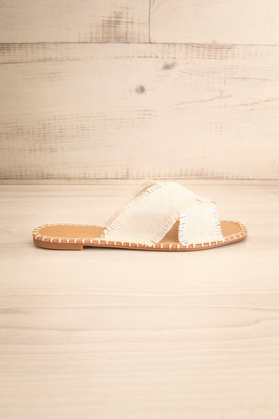 Basingstoke Beige Woven Slip-On Sandals | La petite garçonne side view