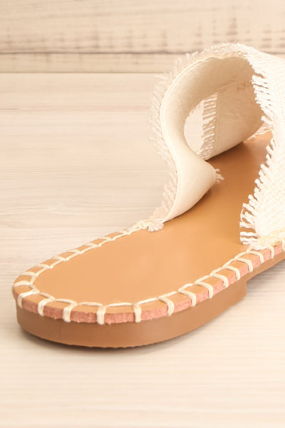Basingstoke Beige Woven Slip-On Sandals | La petite garçonne back close-up