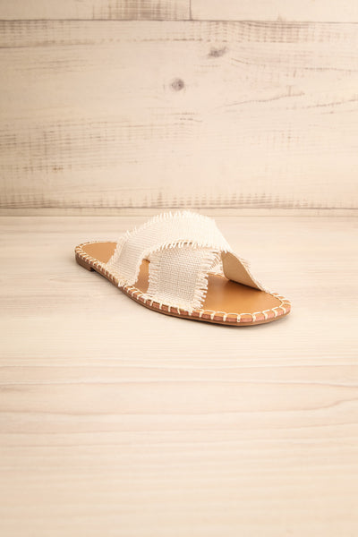 Basingstoke Beige Woven Slip-On Sandals | La petite garçonne front view