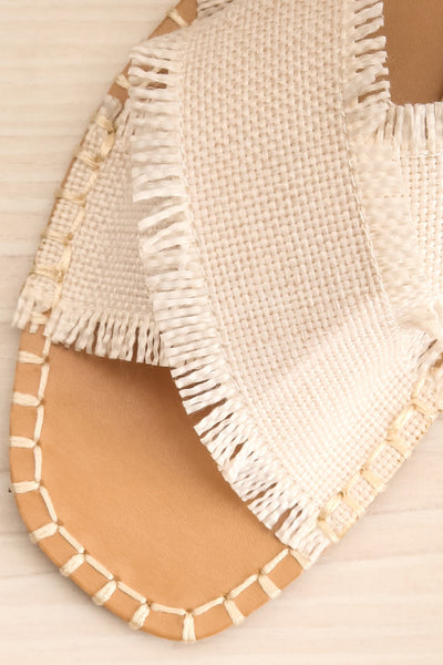 Basingstoke Beige Woven Slip-On Sandals | La petite garçonne flat close-up