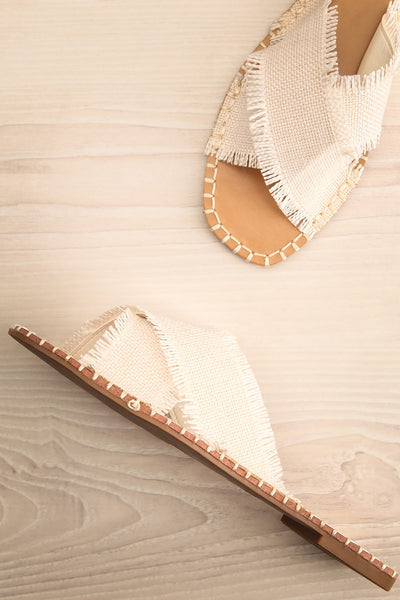 Basingstoke Beige Woven Slip-On Sandals | La petite garçonne flat view