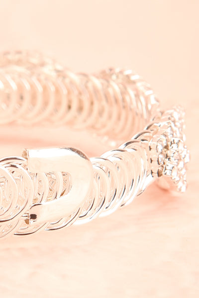 Baucis Argent Crystal Studded Silver Bangle Bracelet back close-up | Boutique 1861